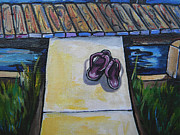 Flip-flops Paintings - Flip Flop Close Up by Patti Schermerhorn