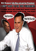 Mitt Romney Posters - Flip-Flop-Cut it Out Poster by Reggie Duffie