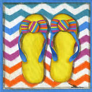 Beach Towel Painting Posters - Flip Flops 2 Poster by Debbie Brown