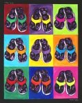 Flip-flops Paintings - Flip Flops After Andy Warhol by Linda Kegley