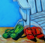 Adirondack Paintings - Flip Flops on The Beach by Patti Schermerhorn
