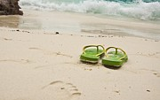 Ladys Island Photos - Flip-flops On The Beach by Suriya Kanjant
