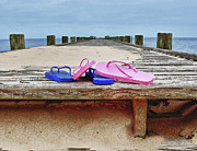 Orange Digital Art Originals - Flip Flops on the Dock by Michael Thomas