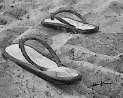 Flip Prints - Flip Flops on the Sand Print by Anthony Caruso