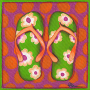 Beach Towel Painting Posters - Flip Flops1 Poster by Debbie Brown