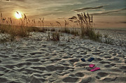 Orange Beach Prints - Flipflops on the Beach Print by Michael Thomas