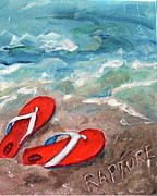 Flip-flops Paintings - Flipflops rapture by Doris Blessington