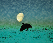 Dolphin Digital Art - Flippers Moonlight Swim by Bill Cannon