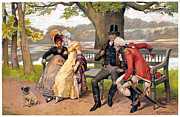 Flirtation Framed Prints - FLIRTATION, c1810 Framed Print by Granger