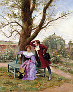 Garden Scene Painting Metal Prints - Flirtation Metal Print by Georges Jules Auguste Cain