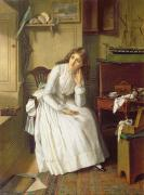 Charles Dickens Paintings - Flo Dombey in Captain Cuttles Parlour by William Maw Egley