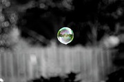 Surrealism Prints - Floating Bubble Selective Coloring Print by Thomas Woolworth
