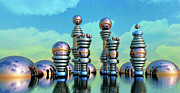Rendered Prints - Floating Chrome Towers Print by Ron Bissett