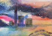 Peaceful Scene Mixed Media Prints - Floating City Print by Anil Nene