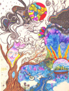 Sharpie Art Posters - Floating Dreams Poster by Bonnie Murphy