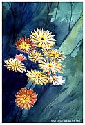 Floating Flowers Print by Anil Nene