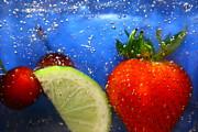 Floating Fruit Print by Paula Brown
