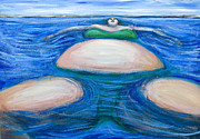 Distortion Painting Prints - Floating Giant Fat Woman in her favorite Green Bikini Print by Kazuya Akimoto
