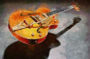 Orange Pastels Metal Prints - Floating Guitar Metal Print by Russ Harris