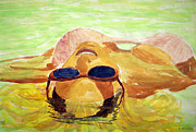 Tanning Paintings - Floating In Water by Brian Wallace
