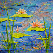 Decoupage Art - Floating Lilies by Carla Parris