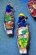 Fresh Vegetables Painting Posters - Floating market Poster by George Rossidis