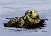 Sea Otter Posters - Floating Otter Poster by Scott Rolfe