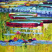 Lily Pond Paintings - Floating Parallel Universes by John Lautermilch
