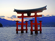 Miyajima Framed Prints - Floating Tori Framed Print by Roberto Alamino