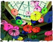 Umbrellas Digital Art Framed Prints - Floating Umbrellas In Las Vegas  Framed Print by Susan Stone