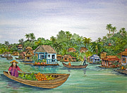 Lifestyle Painting Posters - Floating Village in Vietnam Poster by Bonnie Sue Schwartz