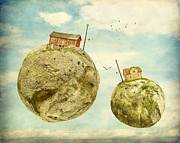 Surrealism Photos - Floating village by Sonya Kanelstrand