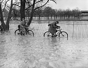 Problems Posters - Flooded Cyclists Poster by Reg Speller