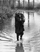 Holding A Boy Posters - Flooded Road Poster by Reg Speller