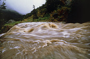 Flood Framed Prints - Flooded Stream Pouring Down Steep Slopes In Valley Framed Print by Dr Morley Read