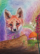 Fox Pastels Prints - Flora Fauna  Fairies Print by Adrian Neale