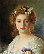 Face  Paintings - Flora by Gustave Jacquet