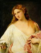 Ancient Woman Framed Prints - Flora Framed Print by Titian