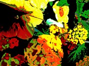 Digitally Altered Floral Posters - Floral Abstraction Poster by Beth Akerman