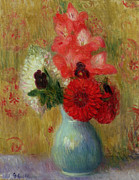 Pottery Painting Posters - Floral Arrangement in Green Vase Poster by William James Glackens