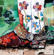 Torn Paper Prints - Floral Boot Print by Suzy Pal Powell