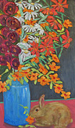 Pallet Knife Painting Prints - FLoral Bouquet and Bunny Print by Susan  Spohn