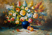 Live Painting Originals - Floral Bouquet by Aydin Kalantarov