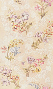 British Tapestries - Textiles Posters - Floral design with peonies lilies and roses Poster by Anna Maria Garthwaite