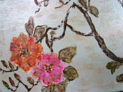 Pink Flower Branch Paintings - Floral Duet by Melynnda Smith