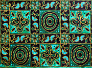 Color Green Tapestries - Textiles Posters - Floral fabric pattern Poster by Phalakon Jaisangat