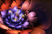 Mysterious Digital Art Prints - Floral Flame Print by John Edwards