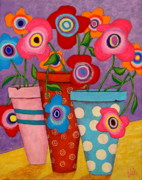 Modern Folk Art Paintings - Floral Happiness by John Blake