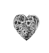 Valentines Day Drawings Framed Prints - Floral Heart Framed Print by Chris Cooke