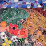 Mosaic Mixed Media Originals - Floral Landscape by Jonathan Mandell